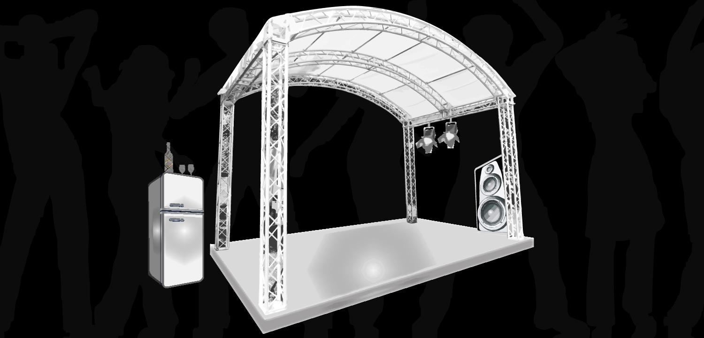 Bühne mit Podium, Stiege, Beleuchtung, Sound